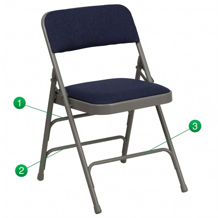 HERCULES Series Curved Triple Braced & Quad Hinged Navy Fabric Upholstered Metal Folding. 18.5''W x 19''D x 30''HSeat Size: 15.75''W x 15.75''D