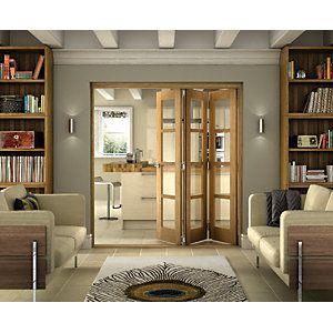 Wickes Belgrave Internal Folding Door Oak Veneer 4 Lite 2074x1790mm