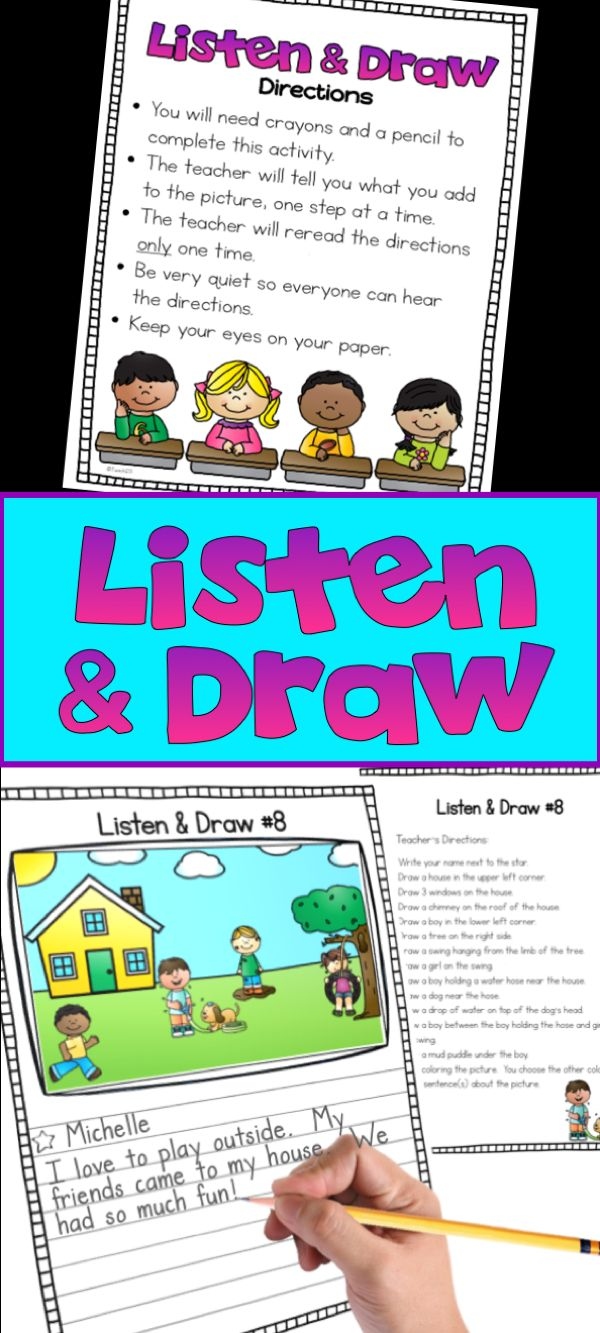 Following Directions - LIstening Activitiy for Kids: Students practice positional words while practice focusing and active listening to teacher's oral directions. Classroom teachers, ESL, ELL, Speech Language,SLP, Music teachers, Counselors, and Parents have bought these Listen & Draw activities. $