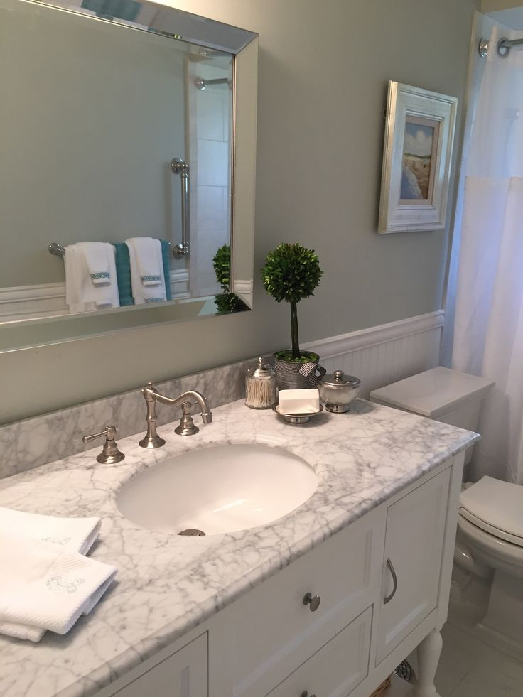Bathroom Remodel Pictures Done! | My Home On The Corner - Paint Color Is Gray Owl