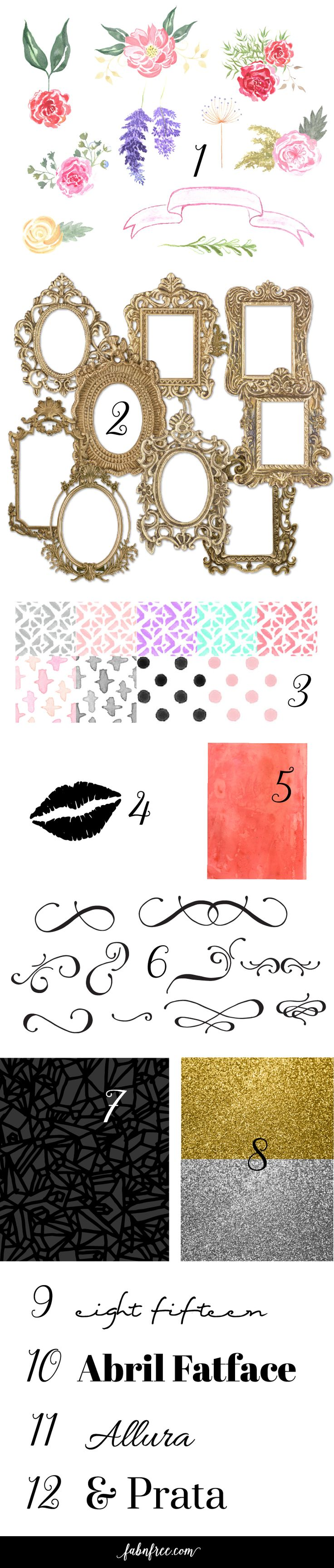FREE!!! 81 Watercolor Florals, 10 amazing gold frames, 4 fonts, 13 backgrounds, lip clip art and 15 clip art swooshes!!!