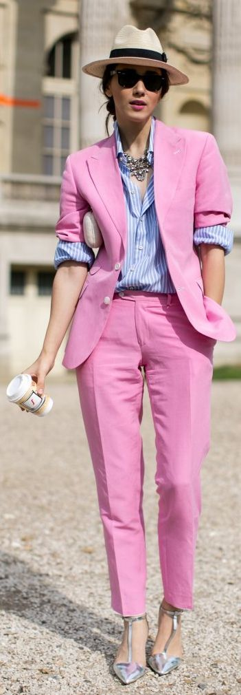 Pink Two Pieces Suit Paris Fall 2015 Street Style #Fashionistas
