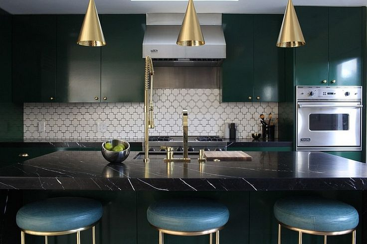 Midcentury kitchen with a touch of golden charm! [Design: McCraw Design & Development]
