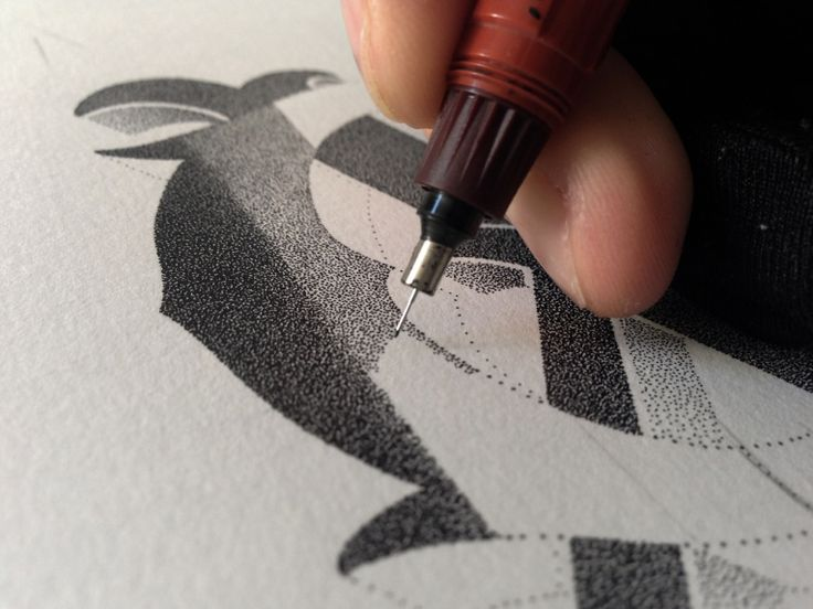 Xavier Casalta is a talented graphic designer from France, who is passionated by hand lettering. He is using an Isograph 0.10mm and experimenting in different styles with a stippling technique. Check out his online shop too.
