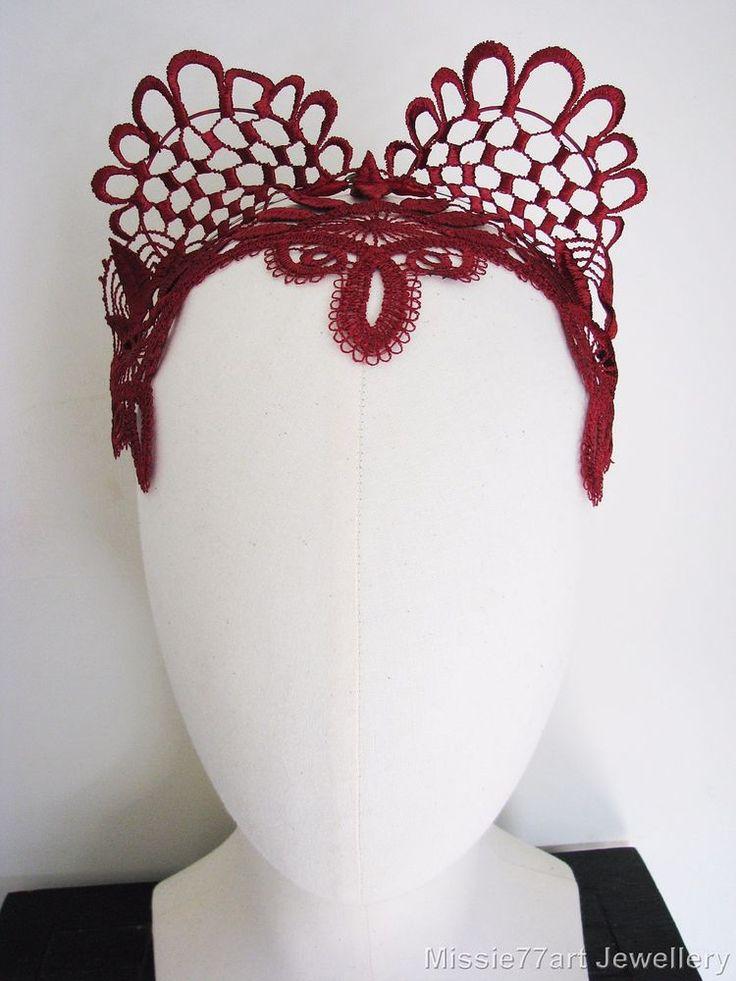 Red Fascinator Lace Cat Ear Headpiece Horse racing Crown Burlesque Headband