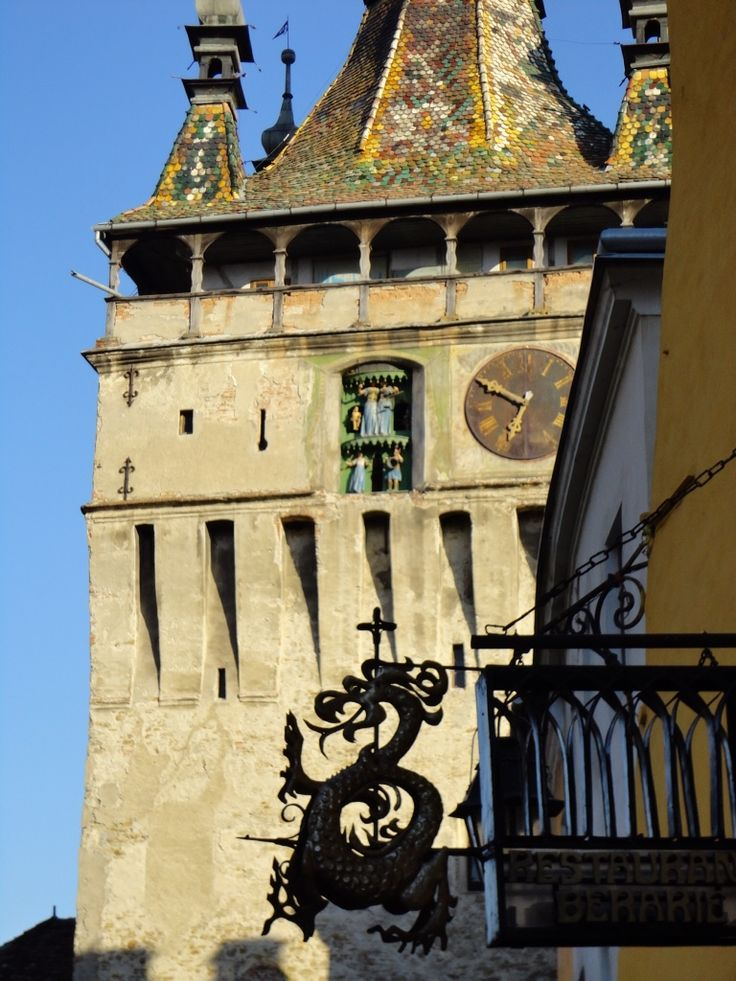 A view of a clock tower in Sighisoara, Romania