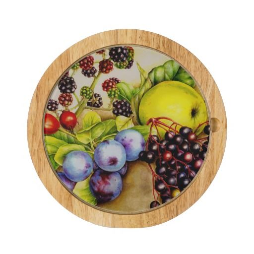 Hedgerow fruits watercolor art cheese board round. Watercolor art by www.sarahtrett.com