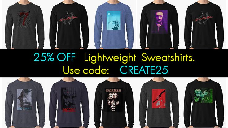 25% OFF  Lightweight Sweatshirts. #sales #lightweightsweatshirts #sweatshirts #autumnsweatshirts #autumngifts #discount #save #salesgifts #redbubble #moviesweatshirt #cinemagifts #giftsforhim #giftsforher #predatorsweatshirt #poeswetshirt #psychosweatshirt #goodfellassweatshirt #clothing #apparel