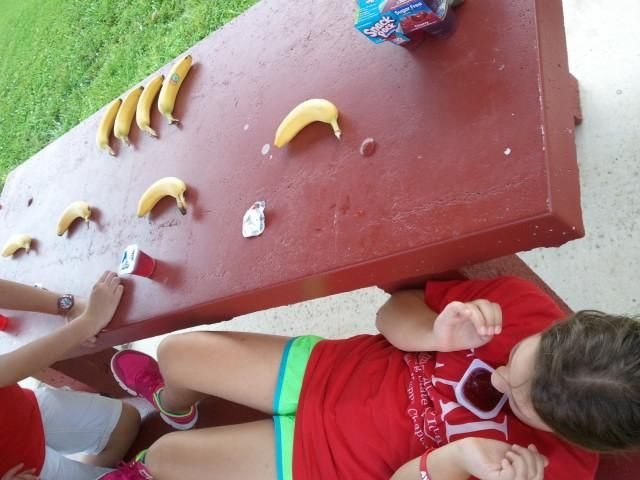 The Amazing Race.  This challenge was: Peel and eat a banana without using your hands.  Eat a jello without using hands, fork or spoon.