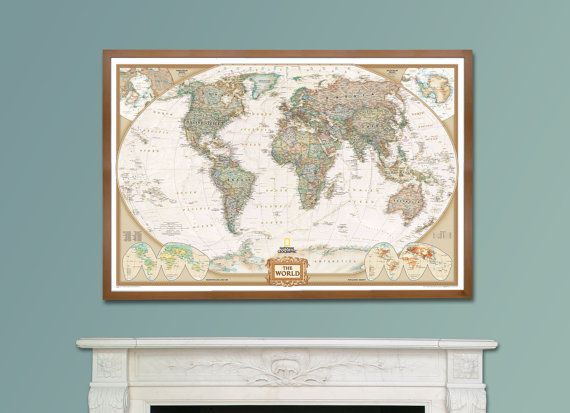 16 best etsy usa images on pinterest world maps wall maps and national geographic executive world map framed large by maps international 14700 gumiabroncs Image collections