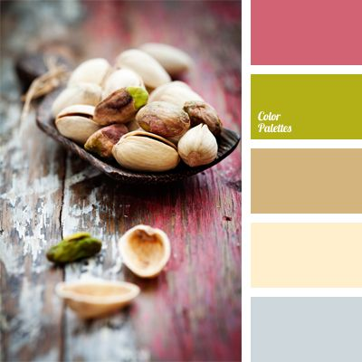 The combination of pink and pistachio colors is complemented with light shades of gray, brown, beige and pastel beige. This color solution is suitable for decoration of a kitchen, a dining and a living room; it will also look good in female festal and everyday clothes.