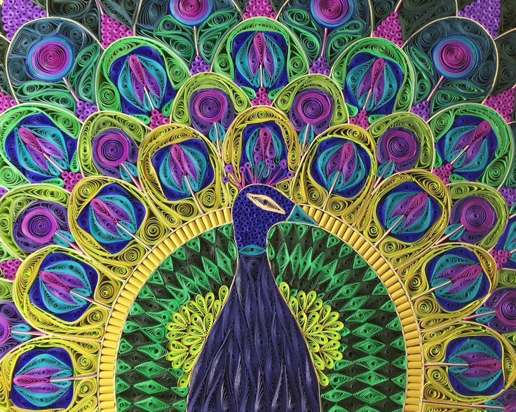 """This is a collection of quilling paper to go along with the Splendid Peacock quilled mosaic. You will receive 12 packs of 1/4"""" paper that will allow you to recreate the project as shown in the image ("""