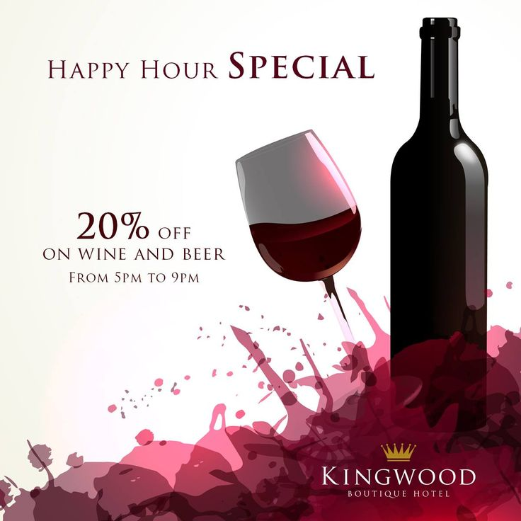 HAPPY HOUR SPECIALS 20% Off for Wine & Beer 8 Choices of snack items @ RM 10 ++ RM 48 nett/per bucket Buy 2 buckets of beer & get 1 Free snack item (Offer available from 5pm to 9pm) #KingwoodBoutiqueHotel #offers #food #Miri #Malaysia #wine #beer #drinks http://kingwoodmiri.com.my/