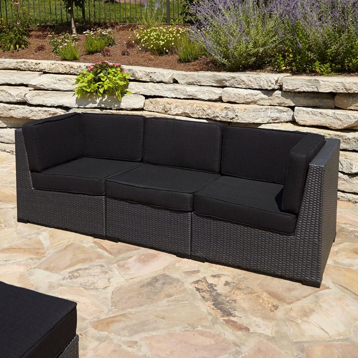 Michio Resin Wicker Outdoor 3-Piece Modular Outdoor Couch -