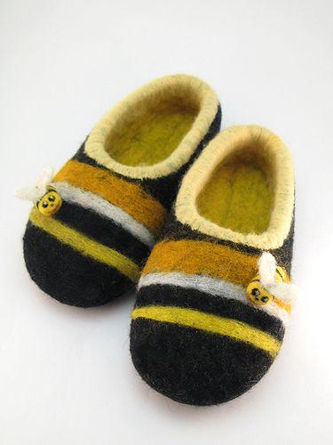 Войлочные (валяные) детские тапочки Пчелиный блюз - Фелтюльки.Ру