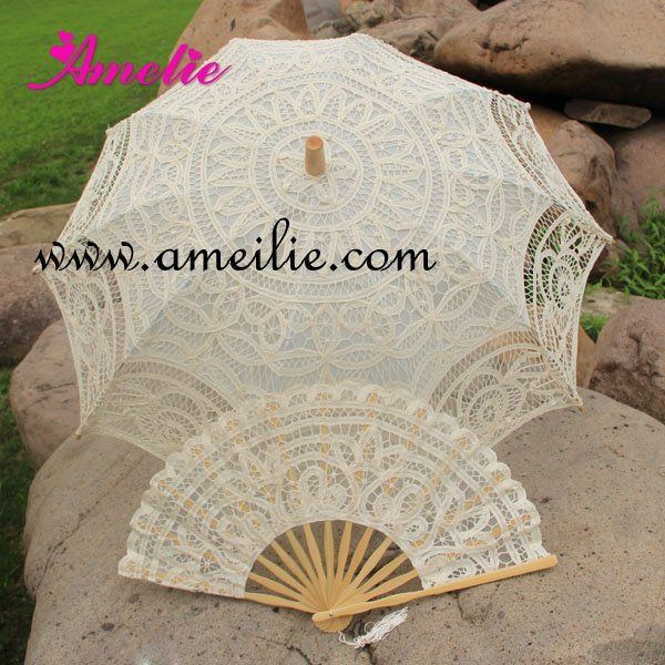Belgian Lace Emboridered Parasol And Fan Bridal Umbrella Wedding Set-in Bridal Umbrellas from Apparel & Accessories on Aliexpress.com