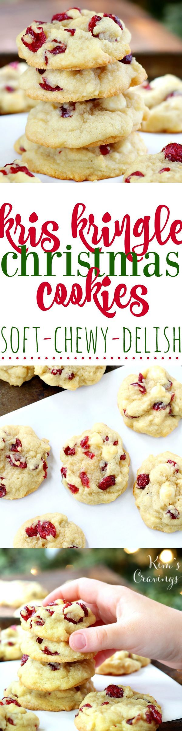 I'd love to make a gluten free version of these rich and buttery Kris Kringle Christmas Cookies, dressed for the holidays with creamy white chocolate chips and sweet dried red cranberries. Yum! #ginger