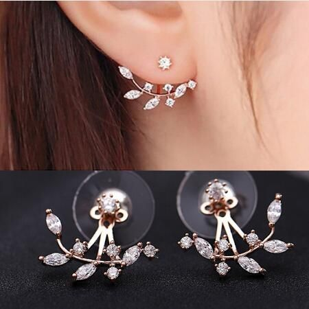 High Quality 2017 Cool style Silver Rose Gold Zircon Leaf Ear Cuff Stud Earrings Gift For Women Fine Jewelry Wholesale Price