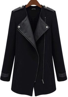 Black Contrast PU Leather Trims Oblique Zipper Coat US$40.33