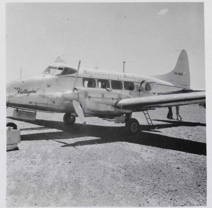 BA2226/74: DeHavilland Dove VH-MMN Nullagine at Leonora Airport, October 1957.  http://encore.slwa.wa.gov.au/iii/encore/record/C__Rb3104492__Smacrobertson%20miller__P3%2C87__Orightresult__U__X3?lang=eng&suite=def