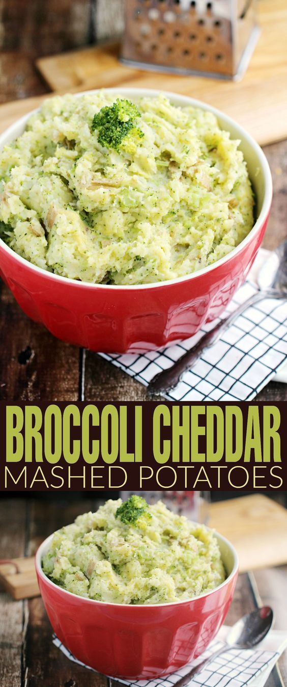 Broccoli Cheddar Mashed Potatoes | Recipe | Mashed Potatoes, Cheddar ...