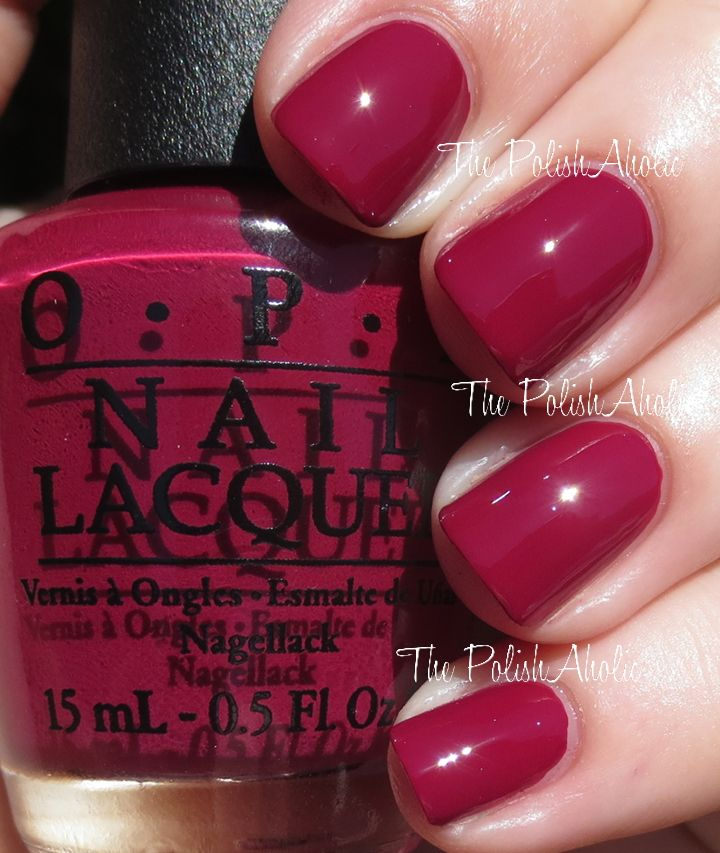 """OPI Holiday 2014 Gwen Stefani Collection, In A Holidaze. Maroonish/red creme color, this is my favorite """"red"""" in this collection."""