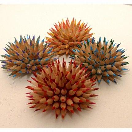 pencil flowersCrafts Ideas, Diy Crafts, Pencil Tips Art, Pencil Sculpture, Sea Urchins, Colors Pencil, 2Greatmind Ideas, Pencil Art, Crafty Ideas