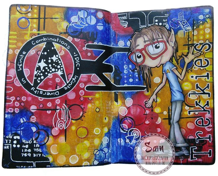 Trekkies - Art Journal Page by The Crippled Crafter, featuring Bloobel Stamps & Gelatos    http://thecrippledcrafter.blogspot.co.uk/2016/06/trekkies-art-journal-page.html