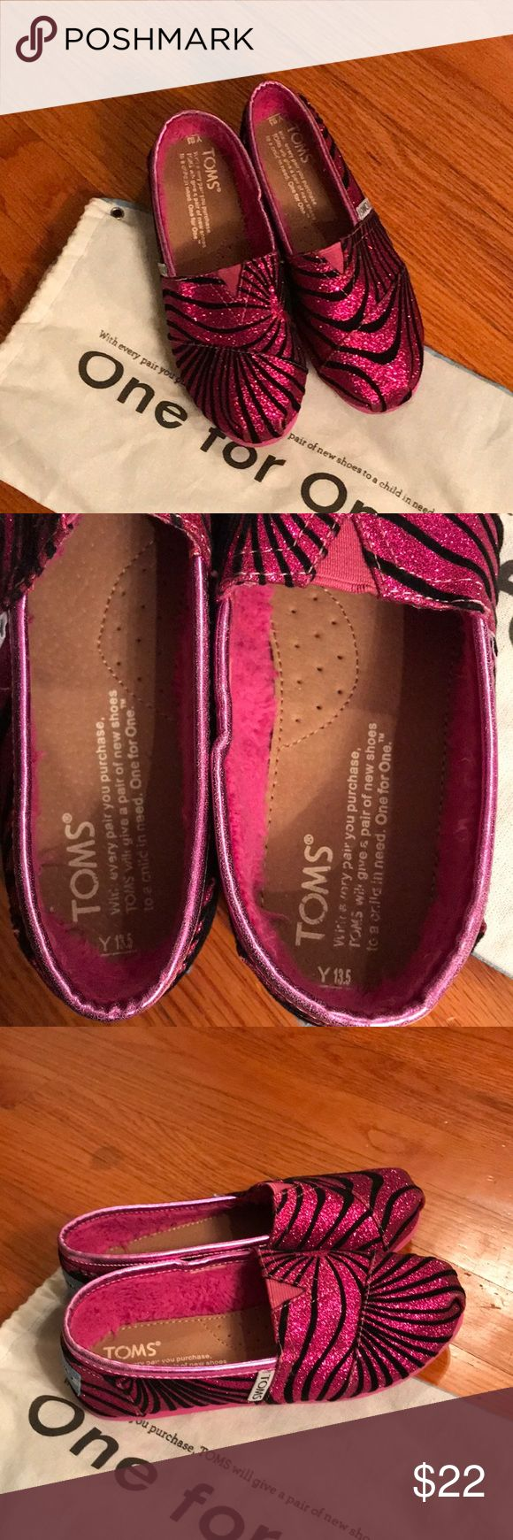 Pink and black glitter Tom's shoes Youth 13.5 Fun glitter pink and black Tom's shoes.  Youth 13.5. Great condition only worn once Toms Shoes