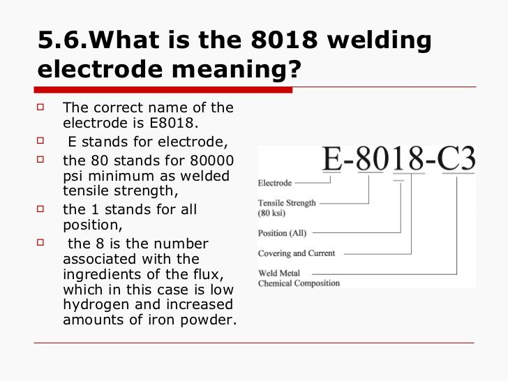 5.6.What is the 8018 welding electrode meaning? <ul><li>The correct name of the electrode is E8018. </li></ul><ul><li>E st...