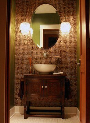 I want to tile an accent wall like this in my half bath - Powder room tile ideas ...