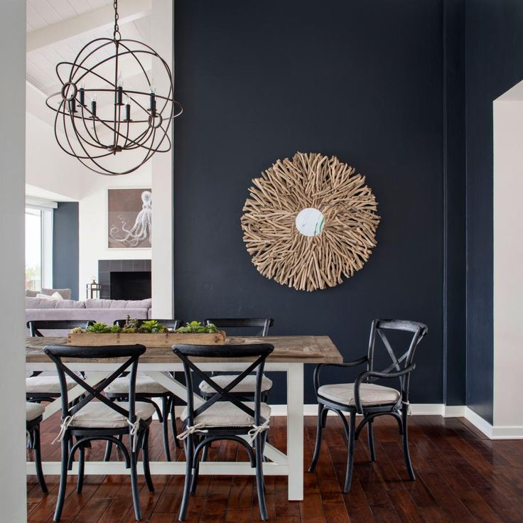 Just like in the gorgeous dining room at HGTV Smart Home 2017, black and white create a graphic background for rich navy blue accents. Although this trio is not just for dining rooms: It works in any space, with any architectural style.