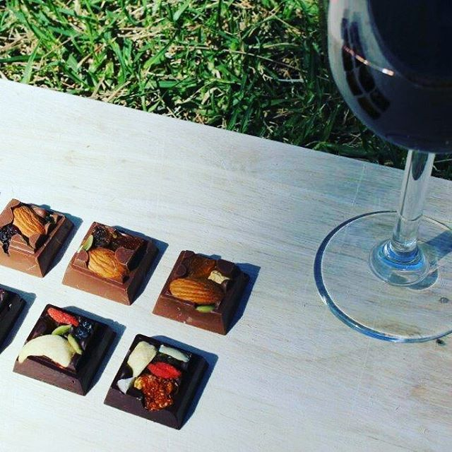 #fruit and #nuts #Chocolate with a glass or #red #wine