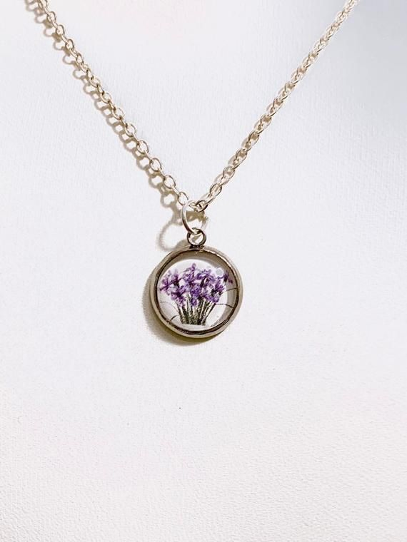 14mm Iris Flower Tarot Card Necklace From The High Priestess Card Small Flower Pendant Silver Toned Chain J Flower Jewellery Iris Flowers Custom Pendants