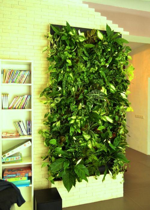 Вертикальное озеленение стены отлично дополнит интерьер гостиной комнаты в экостиле.