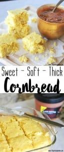 This sweet cornbread recipe is exactly what I have been looking for! It is thick and super soft- not even a little dry and crumbly. I will be making this for YEARS to come!