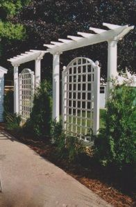 stained privacy screen and pergola for north east corner (built in a l shape)
