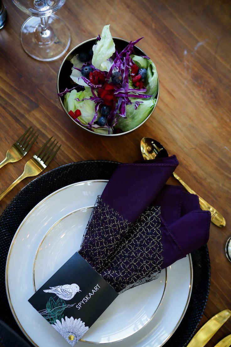 Striking Purple, Black + Gold Wedding Decor Ideas: http://www.confettidaydreams.com/plum-purple-black-gold-wedding-decor/