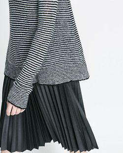 Stripes & plisé skirt