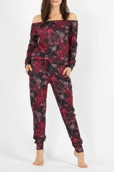 FLORAL BARDOT TOP & JOGGER 2PC LOUNGE SUIT #fashion #fashionblogger #eeuk #freeshipping #worldwide #instadaily #beauty #follow #girl #fit #top #jogger
