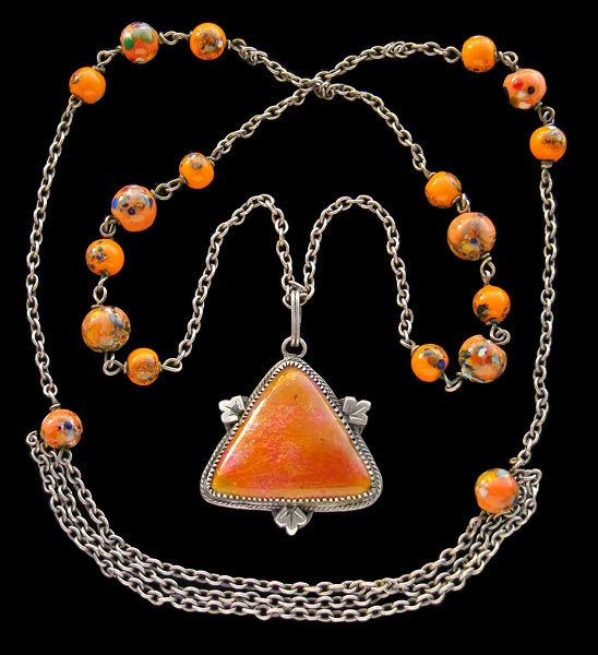 Arts & Crafts necklace - British c.1905: Art Crafts, Jewelry Necklaces, Necklaces Newlyn, Art & Crafts, Enamels Necklaces, Crafts Necklaces, Silver Enamels, Enamels Pendants, Arts & Crafts