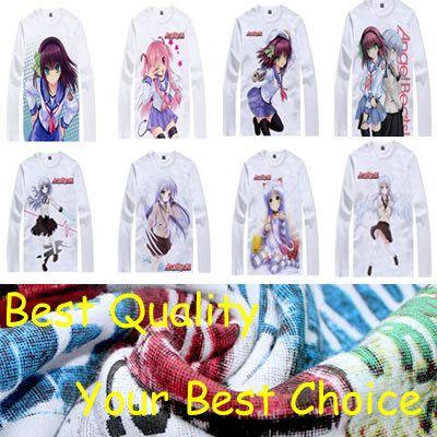 Coolprint Angel Beats anime  t-shirt anime Yuzuru Otonashi cotton shirt Yuri Nakamura  christmas halloween Costumes  #Affiliate