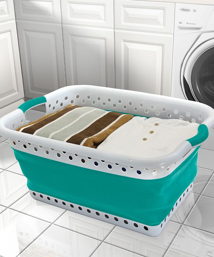 Love this Teal & White Collapsible Laundry Basket by Vanderbilt Home on #zulily! #zulilyfinds