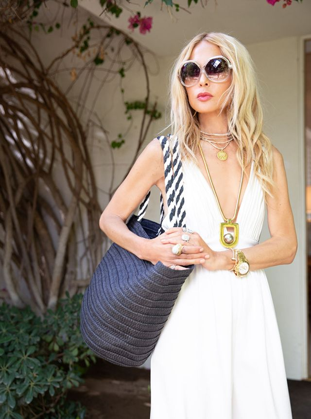 9c7d54fd1658 Rachel Zoe wears her beach tote exclusive to the Summer 2018  boxofstyle