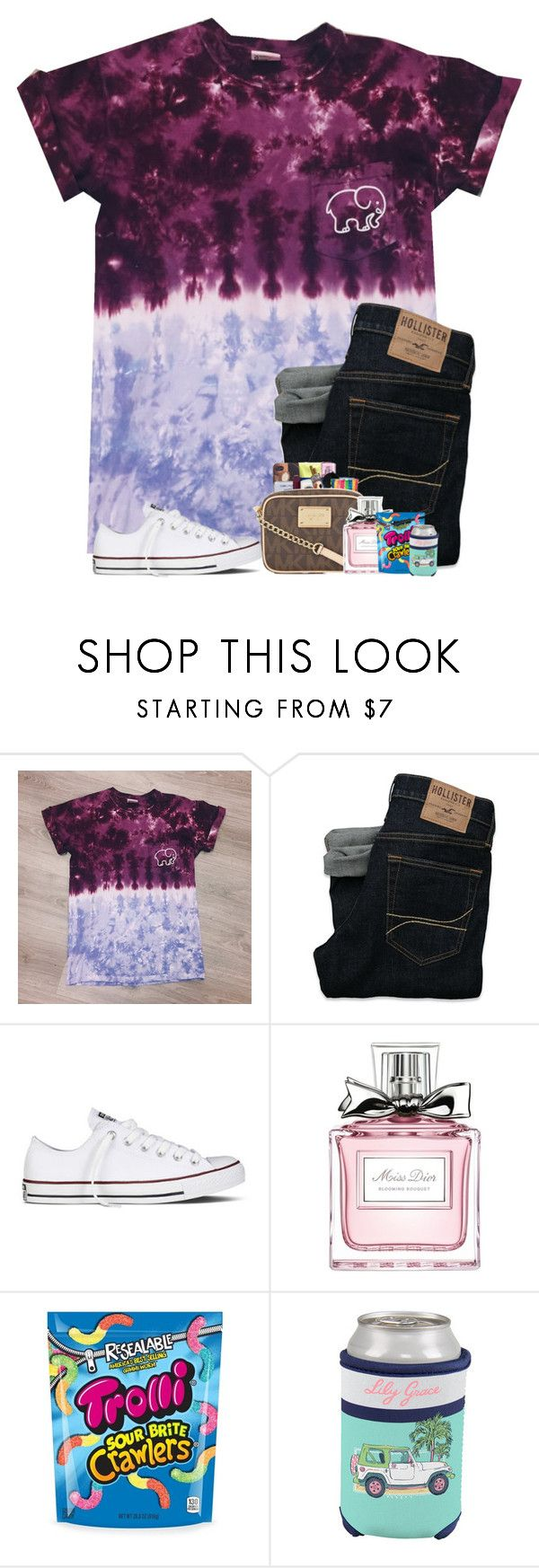 """""""Tie dye contest!!!"""" by preppyandsouthern17 ❤ liked on Polyvore featuring Hollister Co., Converse and Christian Dior"""