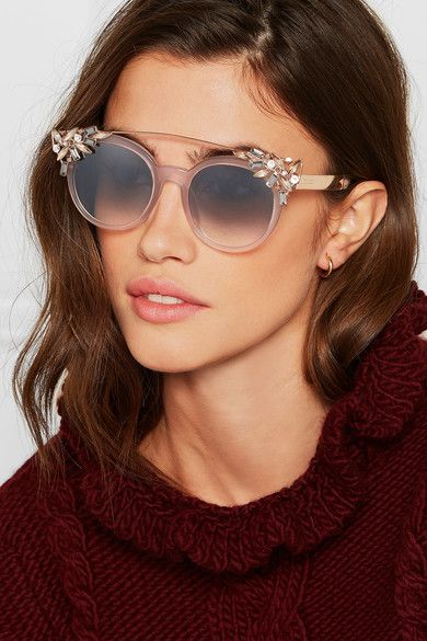 fbef8b0c6ad Jimmy Choo - Vivy S embellished round-frame acetate and rose gold-tone  sunglasses