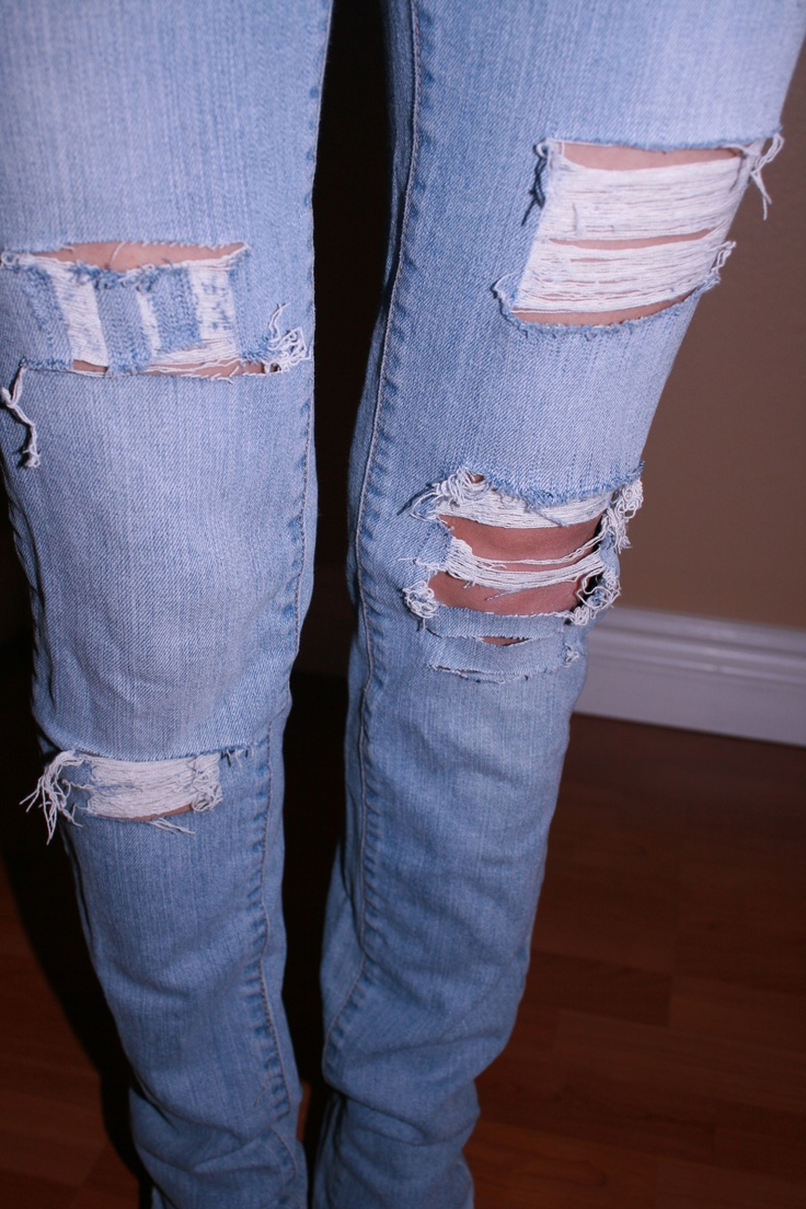 How to Rip jeans DIY http//thriftyngorgeous.wordpress.com | Crafts | Pinterest | DIY fashion ...