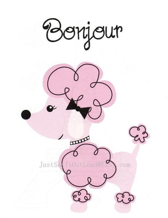 Nursery Art Decor, Kids Wall Art, Baby Girl Nursery, Paris Nursery, Poodle, Dog, Bonjour, 8x10 Print via Etsy
