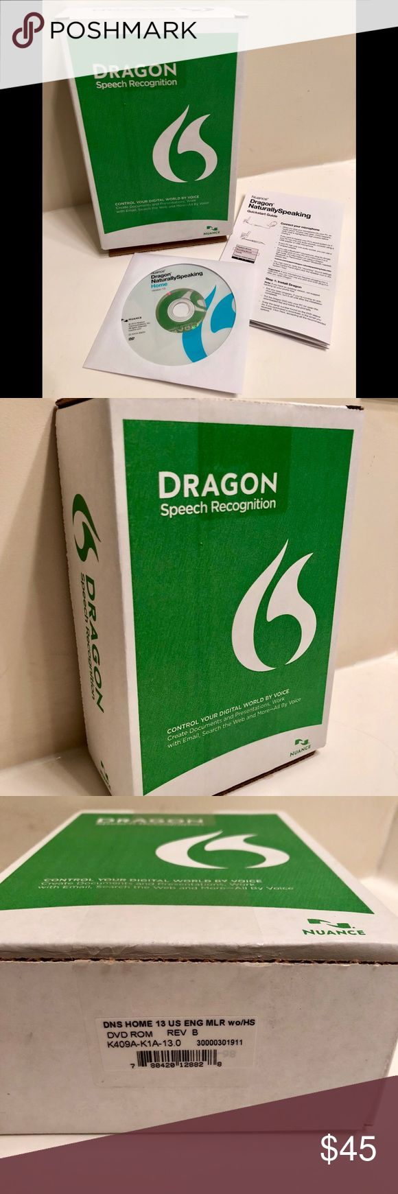 NWT Nuance Dragon NaturallySpeaking Home 13.0 Dragon Naturally Speaking 13 Home (English) is perfect if you're new to speech recognition and want an easy and enjoyable way to connect with your computer by talking instead of typing. It lets you dictate documents naturally with up to 99% accuracy and control applications using simple voice commands so you can accomplish more on your computer in less time for home, school or fun. It also makes a great gift! Opened to look at contents, but never…