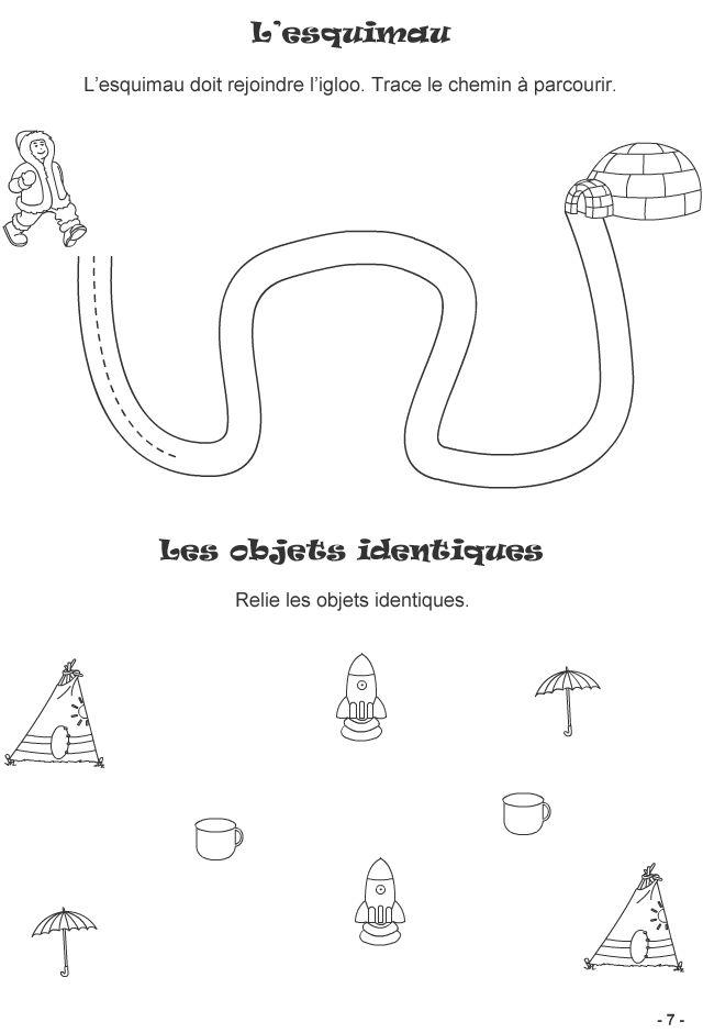jeux pour enfants de 3 4 ans fiche 7 trace le chemin jeux logiques divers pinterest. Black Bedroom Furniture Sets. Home Design Ideas